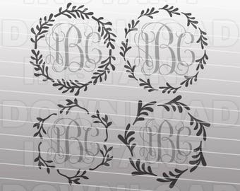 Floral Wreath SVG File,Monogram Frame SVG,Laurel Wreath SVG -Commercial & Personal Use- Vector file for Cricut,Silhouette Cameo,vinyl cut