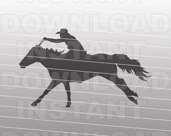 Horseback Rider SVG File,Barrel Racer SVG,Western svg,Rodeo SVG -Vector Art Commercial & Personal Use- Cricut,Cameo,Explore,Silhouette