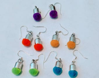 Mini Pom Pom drop earrings Set of two Pair.