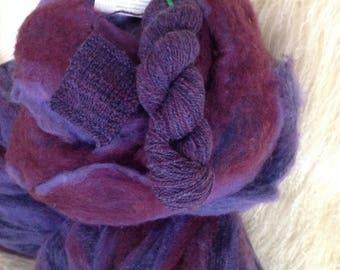 Purple Rain - 8 oz wool and mohair roving