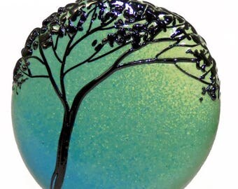 Tree Silhouette on Aqua Teal Blue Moss Green Fade, handmade lampwork glass bead focal tab by JC Herrell