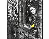 Girl and goldfinch linocu...