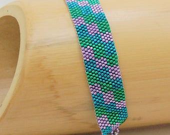 Steps/Peyote Bracelet/Beaded Bracelet/Beadwoven Bracelet/Cuff/Gift for Her/Accessory