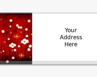 Original Artwork Address Label Stickers Sheet of 60 Personalized Landscape Flowers White Red Black Modern Customize Housewarming Gift
