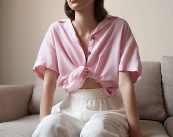 pink linen short sleeve top / linen blouse / button down top / s / m / l / 2688t / B18