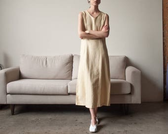 beige linen midi dress / sleeveless multi button dress / minimalist dress / s / 2306d / B5