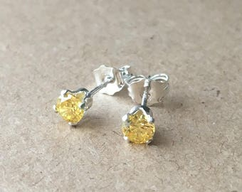 Sterling Silver Yellow Cubic Zirconia 4 mm Stud Earrings. CZ Stud Earrings. Wedding Earrings. Modern Earrings. Gift For Her. UK Seller