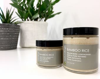 SALE | BAMBOO RICE Cleansing Scrub. Face Scrub. Facial Scrub. Polishing Cleansing Grains. Natural Organic Skin Care. Vegan.