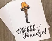 Oh Fudge Christmas card. Christmas Story Christmas card. leg lamp holiday greeting. funny Christmas card. movie inspired.