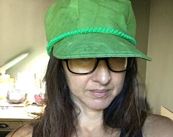 Boho Trucker Cap Hand Dyed Hat Green