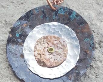 Bullseye Textured Copper & Sterling Pendant