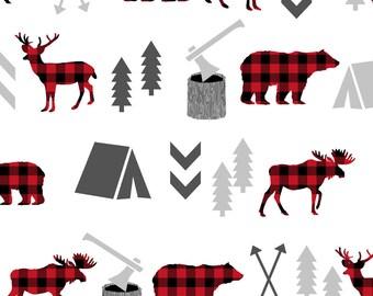 Diaper Caddy - Bear Moose Deer Red Black Buffalo Checks Plaid Woodland Trees Camping Arrows Fabric  - Storage Container Organizer Bin Basket