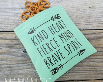 Kind Heart, Fierce Mind, Brave Spirit - Medium Reusable Sandwich Bag from green by mamamade
