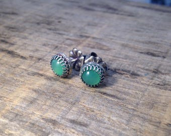 Chalcedony and Sterling Gemstone Post Stud Earrings