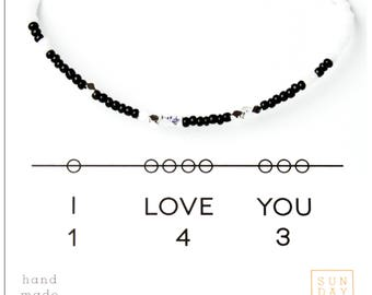 I Love You 143, Friendship Bracelet - Black or Black/White, Valentine's Day, Gift