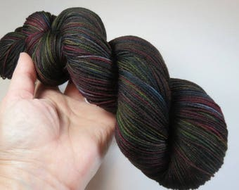 Hand Dyed Superwash Merino and Nylon 4-Ply Sock Fingering Yarn -- Brandy and Cigars (this skein)