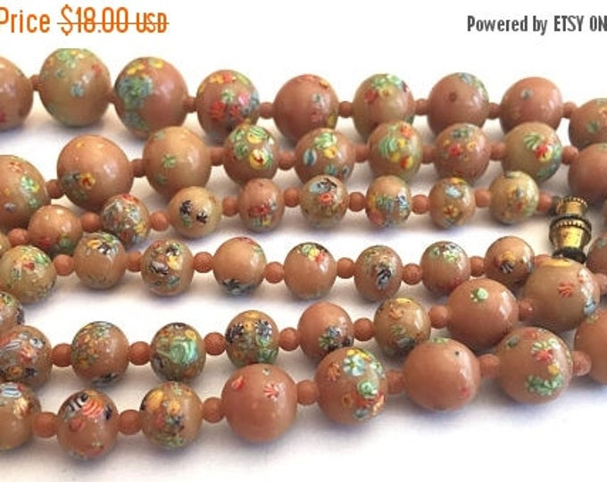 SALE 30% off Vintage necklace Japanese millefiori beads coffee Tan beige latte Color Jewelry little flowers graduated 21 inches 16mm