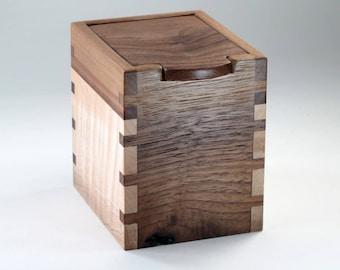 Wooden Keepsake Box, Walnut, Wavy Maple Hardwoods