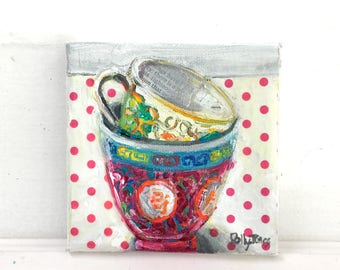 Your Choice Teacups original mixed media still life painting by Polly Jones