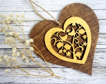 Hanging heart laser cut ornament, dark & pale natural wood decoration with love birds. Mother's day or 5th wedding anniversary gift