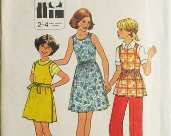 30% OFF SALE 1970s Sewing Pattern Simplicity 8045 Girls Wrap Dress, Jumper or Top & Pants Pattern Size 7 and 8
