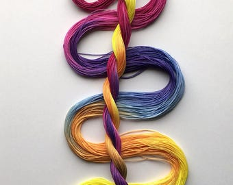 """Size 40 """"Afternoon Mix"""" hand dyed thread 6 cord cordonnet tatting crochet cotton"""