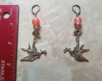 Faceted Watermelon Tourmaline with Birds and Lotus Flower on Stainless Steel Leverbacks