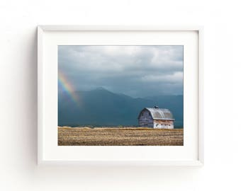 "landscape photography, large art, large wall art, mission mountains, montana, barn, landscape print, modern, art - ""Mission Mountain Barn"""