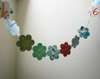 Bicycle by night - paper garland in shades of green - handmade