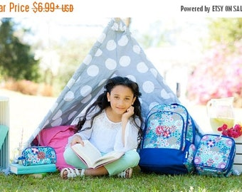 ON SALE Garden Party Backpack - back to school - monogram backpack for girls - hair bow -  backpack and lunch bag set - lunch box - pencil b