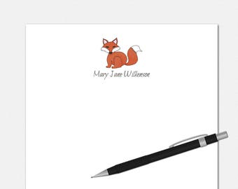 Red Fox Notepad - Personalized Red Fox Notepad - Personalized Notepad - Personalized Stationery for Kids - Custom Red Fox Notepad