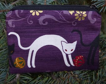 Japanese cat coin purse, gift card pouch, credit card pouch, Arched Cats, The Raven