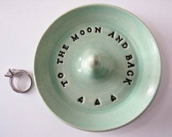Keepsake Ring Dish, To the Moon and Back,  Wheel Thrown, Clay Pottery, In Stock