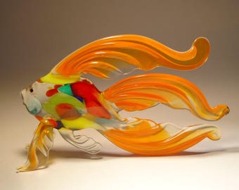 Handmade Blown Glass Art Figurine Orange Betta Fish with Colorful Body