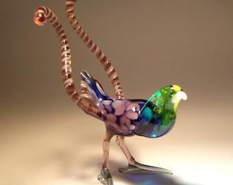 Blown Glass Figurine Art Green and Purple Bird of Paradise