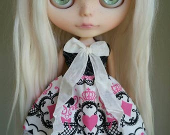 Black, Pink and White Valentines dress for Blythe and Pullip