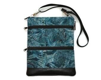Crossbody Bag Cross body Purse - 3 zippered Sling Purse - iPad Bag - Tablet Bag - Cross Body Tablet Bag - Crossbody Serenity Batik Fabric