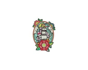 Floral  Ship Tattoo Retro Machine Embroidery File design 4 x 4 inch hoop