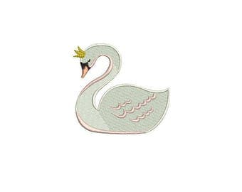 Whimsical Simple 6cm Swan Machine Embroidery File design 4x4 inch or 10cm x 10cm hoop