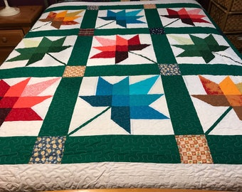 Ca king Size Machine Pieced And Quilted Maple Leaf Quilt