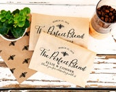 The Perfect Blend Coffee Favor - Bee Themed Calligraphy - Kraft Wedding Favors - Bridal Shower, Reception - 20 Kraft Paper Favor Bags