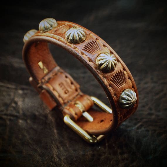 Leather bracelet cuff Brown Lean and Sexy Cowboy western style made for YOU in Brooklyn USA!