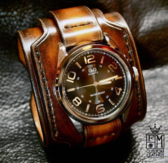 Leather cuff watch Tobacco sunburst wide layered Brown watch band cuff Bracelet  Handmade for YOU in NYC by Freddie Matara