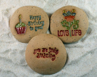 Painted Rocks, Happy Birthday to You, You are Truly Amazing, Love Life Set of 3 Ceramic Message Stones, Rock Art