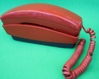 VINTAGE brick orange push button phone
