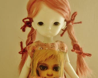 Dusty Rose Braided pigtails 4 1/2 - 5 wig for Soom IMDA and like-sized dolls ~ bjd
