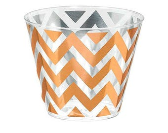Rose Gold Chevron Premium Tumblers-9oz.-Package of 24-NEW