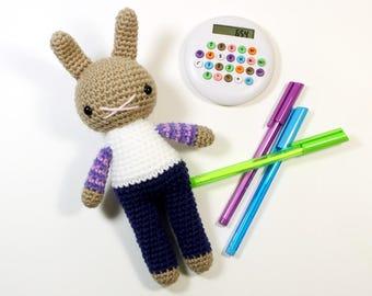 brent.. amigurumi rabbit toy, easter bunny rabbit, boys plush plushie stuffed animal