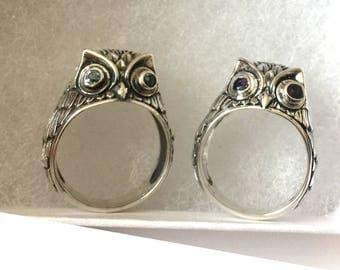 OWL sterling silver ring with amethyst, garnet, or blue topaz eyes AR21