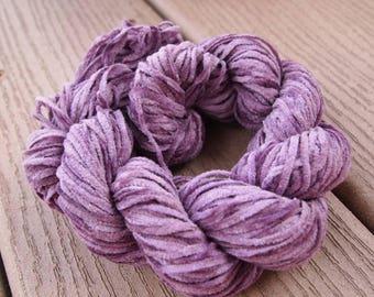 Cotton Chenille Yarn Medium Dusty Lavender 100 yards Fuzzy worsted knitting weaving Purple